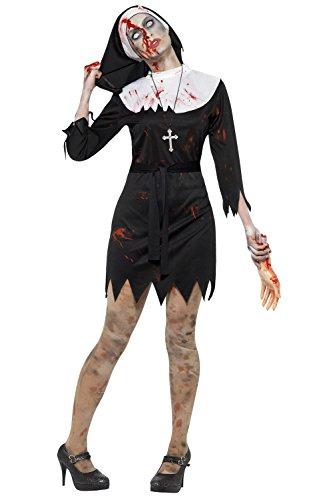 Smiffy's - Costume da donna per Halloween, zombie/suora assassina Black XL