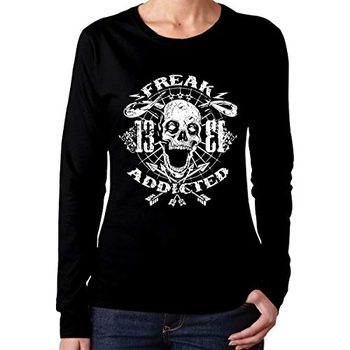 Johnson hop Freak Addicted Skull Mujeres Lady Camiseta de Manga Larga Camiseta Deportiva Casual(XXL,Negro)