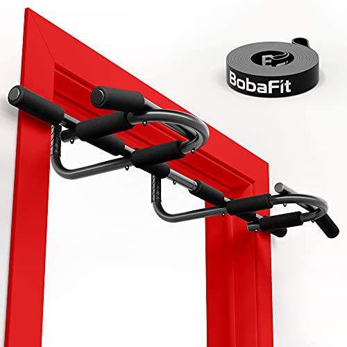 BobaFit 2 in 1 Klimmzugstange Türrahmen   Multifunktions-Klimmzugstange für Zuhause   ideales Sport Zubehör für Deine Home Fitness   effizienter Muskelaufbau für Rücken, Arm & Brust