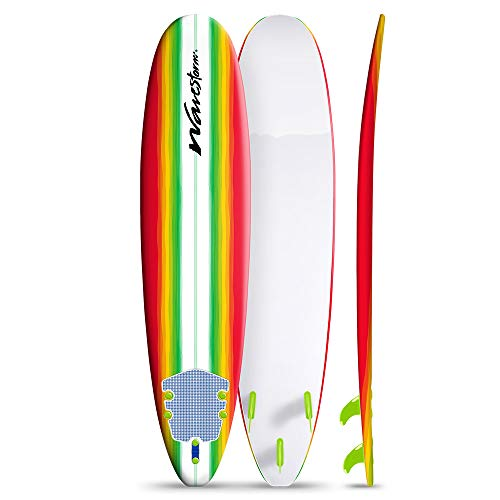 Wavestorm 8ft Surfboard // Foam Wax Free Soft Top Longboard for Adults and Kids of All Levels of Surfing, Multicolor