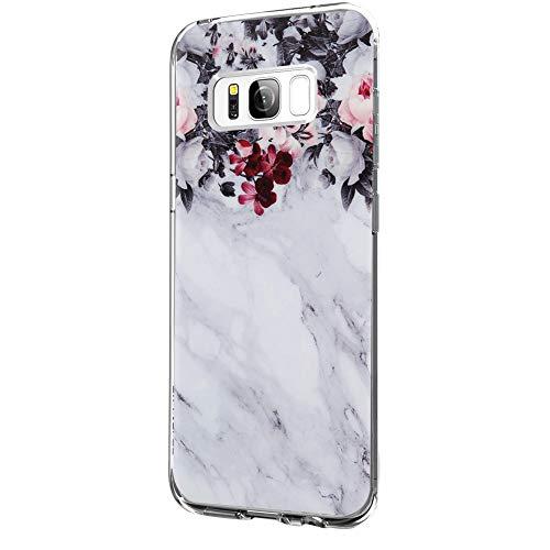 Riyeri Hülle Compatible with Samsung Galaxy S8 Hülle Klar Slim TPU Silikon Bumper Handyhülle für Samsung S8 Plus - Marmor & Blume (S8, 3)