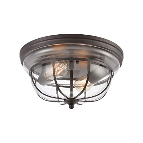 Elk Lighting 46564/2 Manhattan Boutique 2-Light Oil Rubbed Bronze with Clear Glass Flush Mount