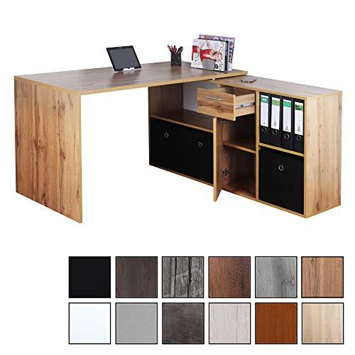 RICOO WM081-EW, Schreibtisch, Holz Eiche Braun, Winkelkombination, Arbeitstisch, Bürotisch, Computertisch, Eckschreibtisch, Akten Schrank Lowboard