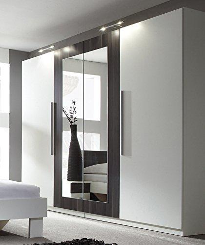 Unbekannt Kleiderschrank Schrank 54027 4-türig mit Spiegel weiß/nussbaum schwarz
