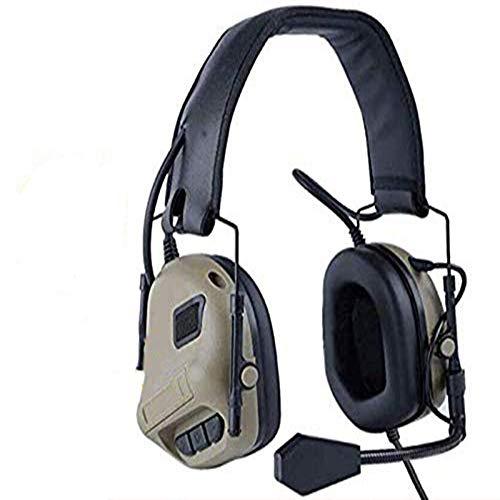 ATAIRSOFT Taktisch Kopfhörer Militärstandard Schießen Ohrenschützer verwendung mit PTT Walkie Talkie Radio Airsoft Taktisch Headset TAN