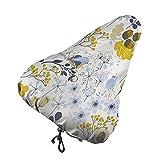 Nicokee Cubierta de asiento de bicicleta floral y pájaro otoño flor animal rama hoja roble planta marrón amarillo bicicleta silla cubierta para hombres mujeres