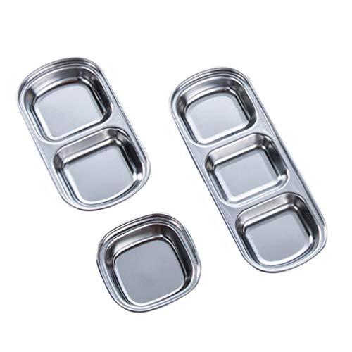 DOITOOL 3 Stück Edelstahl Servierplatte Fach Vorspeise Serviertablett Geteilte Sauce Gerichte Tauchschüssel