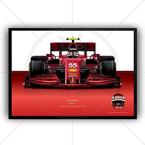 Póster de la Fórmula 1 Carlos Sainz 2021 Ferrari Super Poster Gran Premio Campeón Arte de la pared Ilustración A2