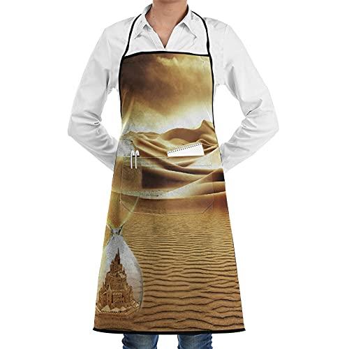 COFEIYISI Delantal de Cocina Arena Desierto Paisaje Surrealismo Fantasía Reloj de arena Castillo Tiempo Delantal Chefs Cocina para Cocinar/Hornear