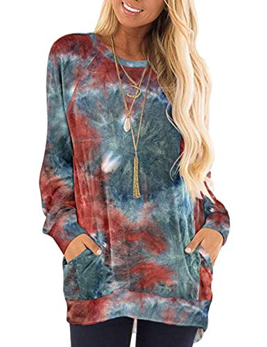 MISFAY Lightweight Sweaters for Women Tie Dye Sweatshirt Sweatshirts Long Sleeve Tops XL