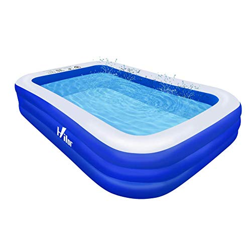 Hilor Inflatable Swimming Pool, 120'x72'x22' Full-Sized Swimming Pools Above Ground for Kids, Adults, Garden, Backyard, Outdoor Swim Center Water Party Family Pool Royal Blue