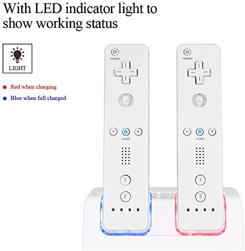 Delymc Wii Remote Charger, Wii Dual Charger Wii Charger Docking Station for Nintendo Wii Controller Massachusetts