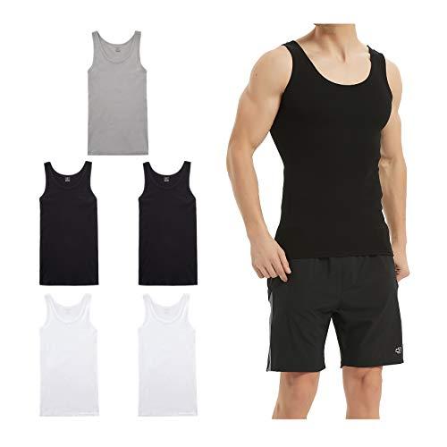 LK LEKUNI Unterhemd Herren Tank Top 5er Pack Feinripp Muskelshirts Baumwolle alle Größen und Farben