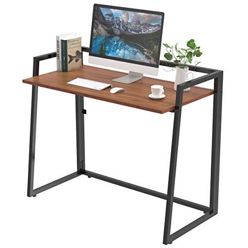 UMI.by Amazon Faltbarer Schreibtisch Modern Klapptisch Stabil Computertisch Keine Installation erforderlich Bürotisch für Homeoffice Arbeitzimmer Hellbraun