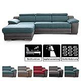 Cavadore Ecksofa Xenit mit Longchair links, L-Form Couch mit Kopfteilverstellung und Bettfunktion,...