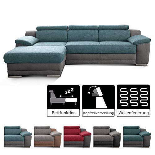 Cavadore Ecksofa Xenit mit Longchair links, L-Form Couch mit Kopfteilverstellung und Bettfunktion, 271 x 81-94 x 168, Materialmix blau - grau