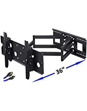 """Long Arm TV Wall Mount Bracket with 36 inch Extension Dual Articulating Arm Full Motion TV Mount for 42-95"""" Flat Curved TVs,Fits 24"""" 18"""" 16"""" Studs Max VESA 800x400mm up to176lbs Added 8' HDMI Cable"""