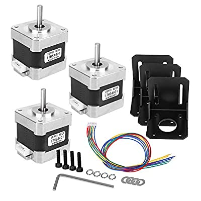 3 Pack Yofuly Nema 17 Stepper Motor 1.7A 40Ncm 56.2 oz.in 2-Phase 4-Wire 1.8 Deg Stepper Motor with Bipolar Motor Cables and 3 Pack Mounting Bracket Kit for 3D Printer/CNC