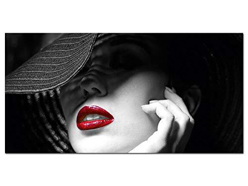 GRAZDesign Wandbild Schwarz Weiß Rot, Sexy Frau rote Lippen, Hartschaum Forex Fotografie Fotodruck, Dekoration Wohnung modern / 100x50cm