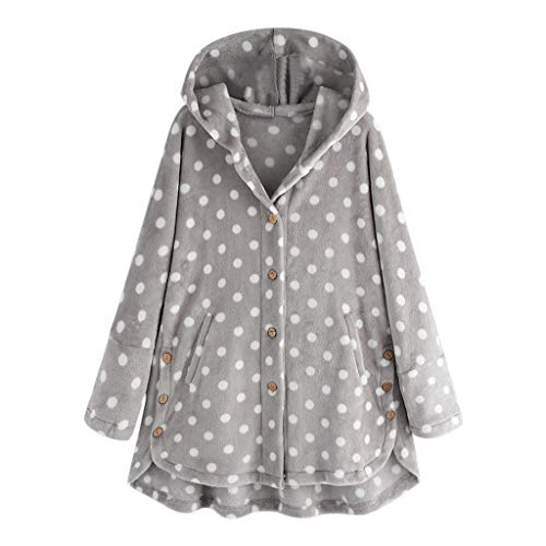 Best Buy! Kiminana Ladies Casual Dot Print Hooded Plush Top Fashion Women Button Coat Tops Pullover ...