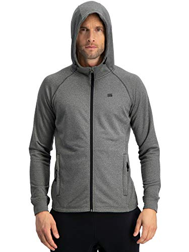 Three Sixty Six Sweatshirts for Men Zip Up Hoodie - Dry Fit Full Zip Jacket, French Terry Fabric Charcoal