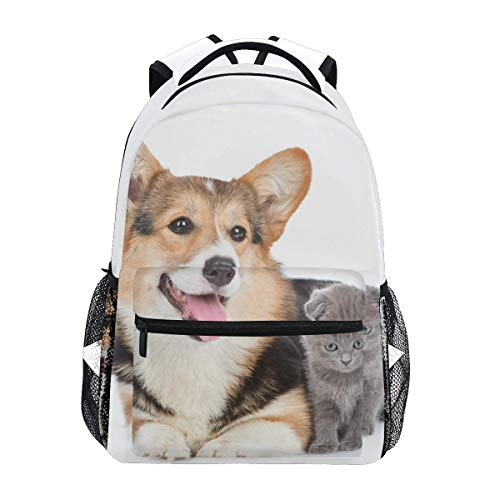 Mochila escolar acostada Corgi pequeño gatito mochilas casual viaje básico estudiante libro bolsa para niños niñas niños