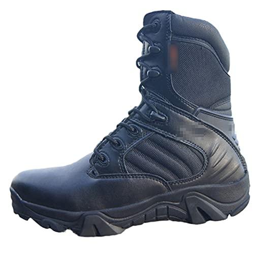 Botas de invierno de los hombres militares tácticas desierto de combate botas de tobillo ejército de trabajo zapatos de cuero botas de, Parte superior alta negra., 38 EU