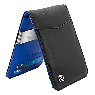 COOLMAN Money Clip Wallet Minimalist Slim Front Pocket Leather Wallet RFID Blocking Card Holder Bifold Closure Mens Wallet