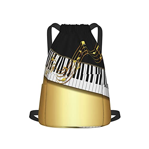 Mochila con cordón para deporte, gimnasio, elegante, notas doradas, llave de piano, color negro, unisex, bolsa de viaje, con bolsillo lateral para gimnasio, compras, deporte, yoga