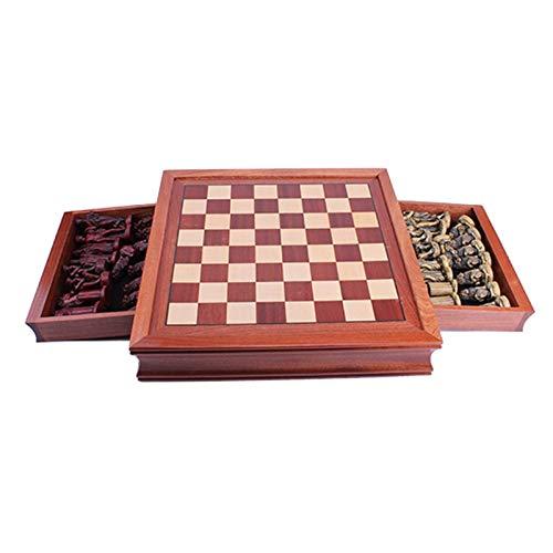 Reiseschachbrett Set Schach-Set, tragbare Reise-antike römische historische Figuren Schach, kann Erwachsene und Kinderbeste strategisch pädagogische Spielzeug traditionelle Spiele-Schach-Set aufnehmen