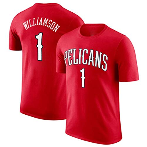 ZSPSHOP Sportswear Camiseta de manga corta NBA Pelican Team No. 1 Zion Williamson Baloncesto Apariencia Entrenamiento Algodón Hombres Jersey (Color: Rojo, Talla: XL)