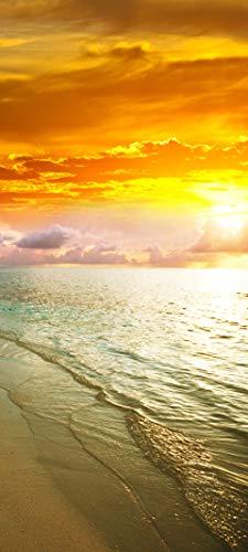 Bilderdepot24 Türtapete selbstklebend | Sonnenuntergang am Strand I | in 90x200 cm | einteilig Türaufkleber Türfolie Türposter | Wand-deko Dekoration Wohnung | 11502a