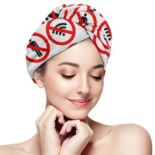 XBFHG Envolturas de toallas de microfibra para el cabello para mujeres Gorra de cabello rápido y seco con botón - Prohibido Prohibido Prohibir la señal de alto Prohibir No abstenerse Alcohólico