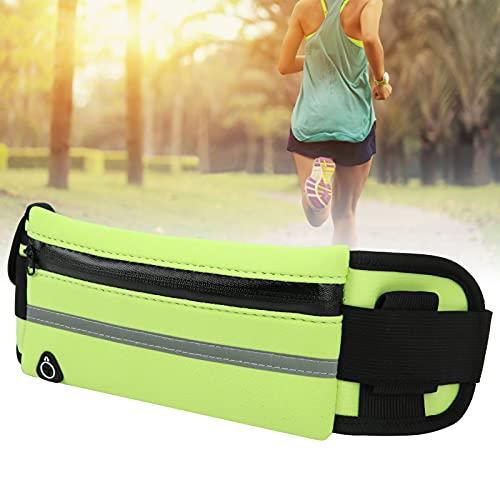 Jiawu Cinturón para Correr, cinturón elástico Ajustable Reflectante de absorción de Impactos Bolsa para Correr Tela de Buceo con Orificio para Auriculares para Gimnasio para Ciclismo(Verde)