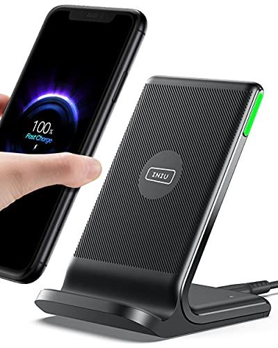 INIU Caricatore Wireless, 15W Qi Certificato Ricarica Rapida Supporto di Ricarica Wireless con Doppia Bobina & Luce adattiv per iPhone 12 11 Pro XR X Samsung Galaxy S21 S20 Airpods Xiaomi Huawei ecc.