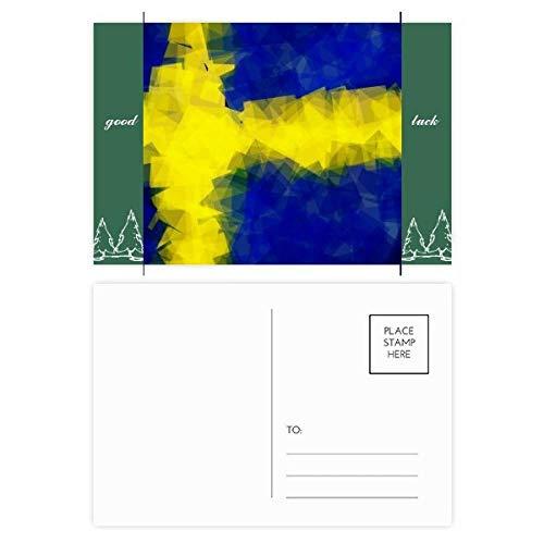 DIYthinker Schwedisch Abstrakte Flaggege Muster Good Luck Postkartenset Kartenversand Side 20pcs 5.7 Zoll x 3.8 Zoll Mehrfarbig