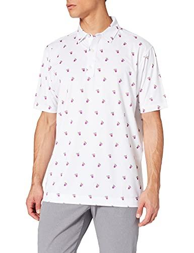 Footjoy Lisle Coctail Print Camisa de Golf, White, XL para Hombre