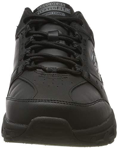 Skechers Oak Canyon-Redwick, Zapatillas Hombre, Negro (BBK Black Leather/Synthetic/Textile/Black Trim), 43 EU