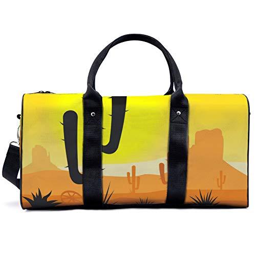 Bolsa de viaje de cactus, para viajes, yoga, camping, gimnasio, hombro, bolsa de lona ligera, para hombres y mujeres