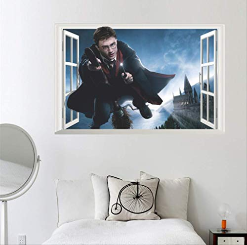 hzcl Pegatinas de Pared 3D Harry Potter Window Wall, Baby Kids Nursery Home Bedroom Nursery Decorativo Adhesivo Arte Murales, 60x90cm