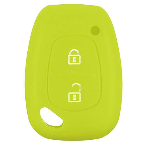 Viviance 2 Button Soft Silicone Smart Key Fob Hoesje voor Renault Kangoo Master Trafic Apple Groen