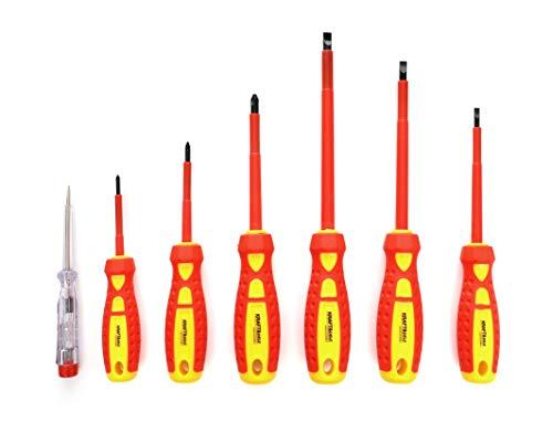 KRAFT&DELE Schraubendreher-Set KD10335   7-teilig   Flachkreuzschraubendreher und Spannungsprüfer   Magnetischer Schraubenzieher-Set   Ideal als Reparatur-Set