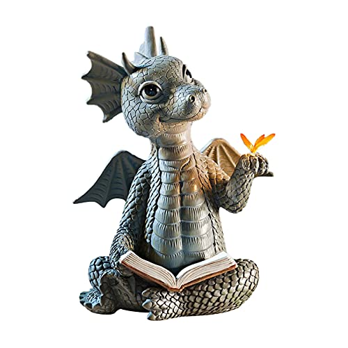 Drachen Figuren, Drachen Gartenfiguren Gartenstatuen, Drachen Deko, Dragons Figuren für Garten, Balkon oder Outdoor (Drache und Schmetterling)