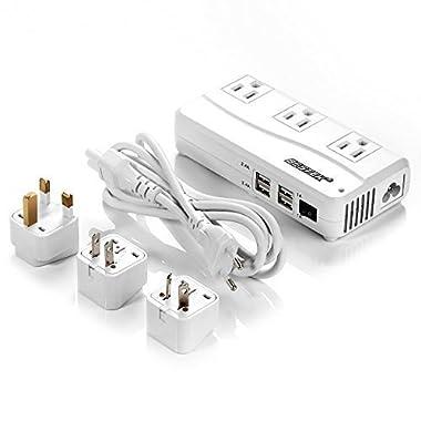 BESTEK Universal Travel Adapter 220V to 110V Voltage Converter with 6A 4-Port USB Charging and UK/AU/US/EU Worldwide Plug Adapter