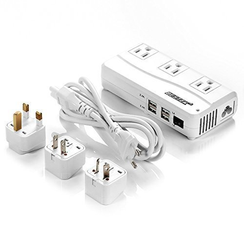 BESTEK Universal Travel Adapter 220V to 110V Voltage Converter with 6A 4-Port USB Charging