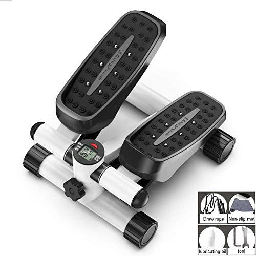 Mini Fitness Treppen für Männer und Frauen, Leiter Fitness Cardio Training, höhenverstellbare rotierende Maschine, mit LCD-Display und Widerstandsband