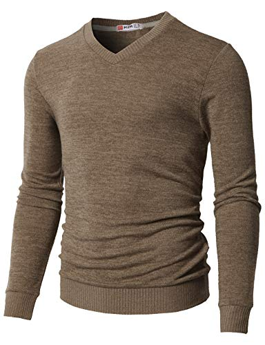 H2H Men's Fine Gauge Solid V-Neck Sweater Beige US M/Asia L (CMOSWL018)