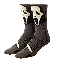 CUSTOM DESIGN: The 360-degree design of Ghostface make these crew socks a must-have for fans everywhere SIZING: These crew socks fit shoe sizes 8-12 OFFICIALLY LICENSED: These collectible pieces of fan merchandise are officially licensed and 100% aut...