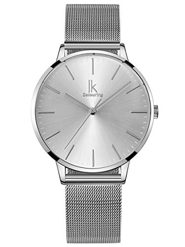 Alienwork Reloj Mujer Relojes Acero Inoxidable Banda de Malla Metálica Plata Analógicos Cuarzo Impermeable Ultra-Delgada