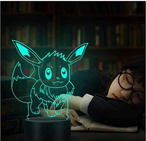 Eevee - Lámpara de ilusión 3D con luz nocturna LED, lámpara de ilusión óptica, 16 colores, regulable, con control táctil con base de grietas, mando a distancia, para niños y niñas, regalos